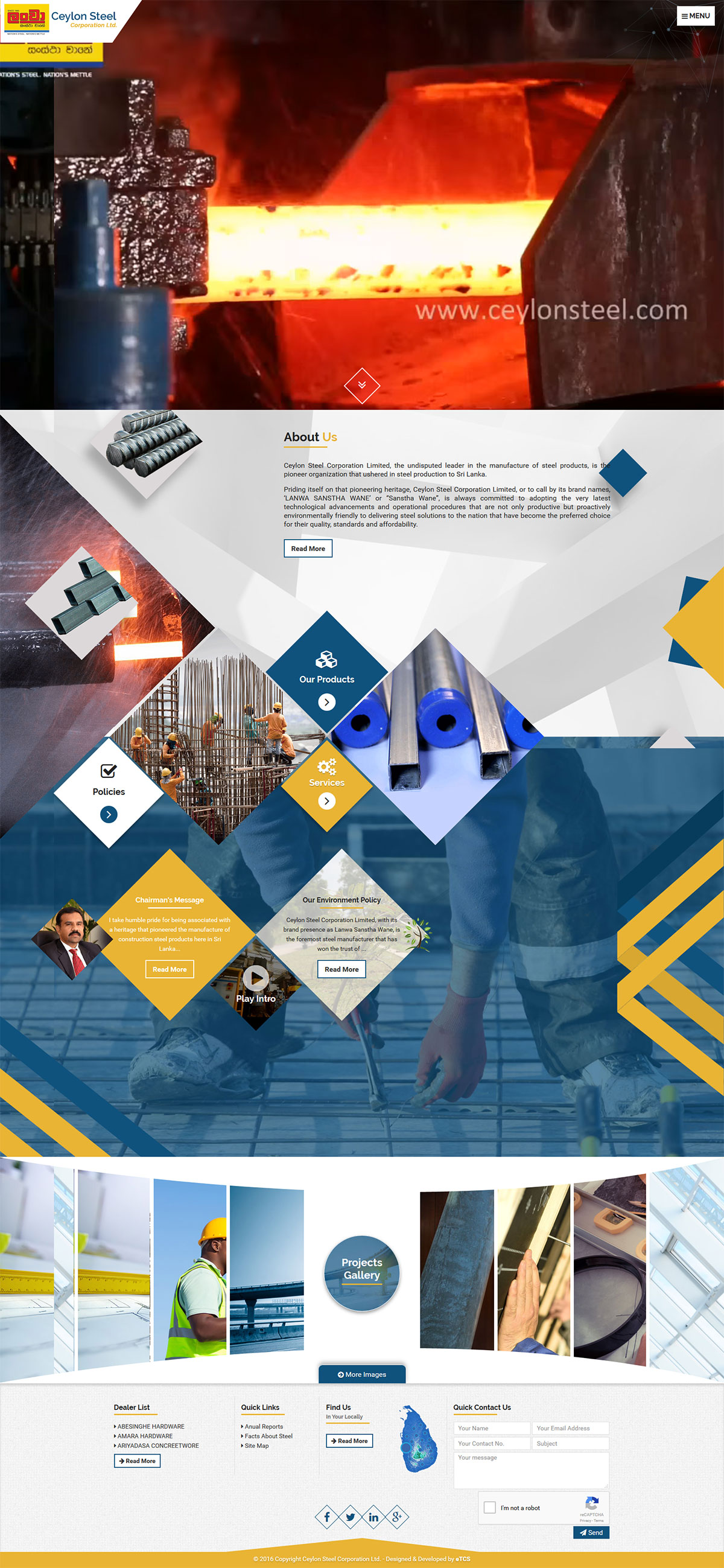 Ceylon Steels Web Design & Development (Joomla)